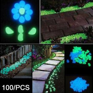 100Pcs Glow in the Dark Artificial Pebbles Resin Stones Aquarium Fish-Tank Decor