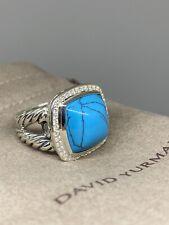 David Yurman Sterling Silver 925 Albion 14mm Turquoise Diamond Ring Sz 7