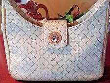 """Vintage Paris Designer """"La Tour Eiffel"""" shoulder Bag Signature Leather Trim."""