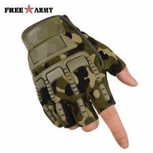 Men Tactical Half Finger Military Gloves Outdoor Protection Non-slip Breathable