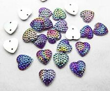 New 50pcs DIY AB Heart  Flatback Beads Scrapbooking Sewing Craft Brown Purple
