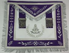 Masonic Aprons- Past Master Royal Purple Apron with Silver Embroidery & Fringe