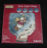 SAKURA DEBBIE MUMM CHRISTMAS SNOW ANGEL VILLAGE SALAD DESSERT PLATE SET OF 4 NEW