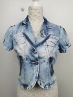 Auth Roberto Cavalli light Denim Short Jacket Sz L M EU 38 40 UK 10 12 US 8 10