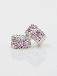 0.60 CTW Natural Diamond and Sapphire Hoop Earrings in 14K White Gold