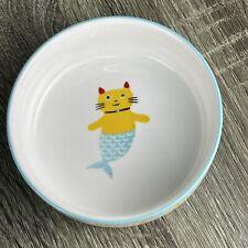 "Signature Housewares Stoneware Mercat Cat Food Dish 5"" diam x 1.75"" deep"