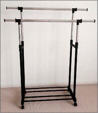 Mobile Stainless Heavy Duty Clothing Adjustable Double Rail Rack Hanger Holder
