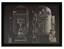 Star Wars R2-D2 Black ShadowBox Blueprint Foil Wall Art Print Picture Artissimo