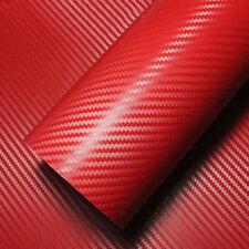 "24 x 100inch"" 3D Red Carbon Fiber Vinyl Car Wrap Sheet Roll Film Sticker Decal"