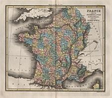 1816 ANTIQUE MAP WALKER HAND COLOURED FRANCE WITH THE NETHERLANDS IN DEPARTMENTS