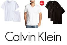 Three Pack NEW Calvin Klein Men's Cotton V-Neck OR Crew Neck T-Shirt Classic Fit