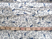 1 yd Cotton/Poly Fabric White with Blue Flowers & Bi-Colored Leaves