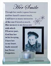 Glass Memorial ~ Her Smile ~ Bereavement Photo Frame Tea Light Candle Holder