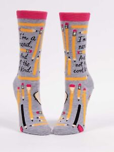 """NWT Blue Q Women's Crew Socks """"I'm a nerd. And not the cool kind"""""""