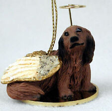 Dachshund Dog Figurine Angel Statue Hand Painted Red Longhair