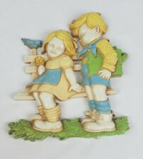 Vintage Homco wall decor two kids sitting on bench children