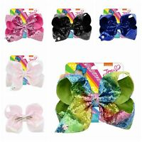 Girls Kids Jojo Siwa Sequin Hair Bow With Alligator Clip Rainbow Bowknot 8 inch