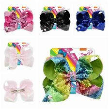 "8"" DY Girls Kids JOJO SIWA Sequin Hair Bow With Alligator Clip Rainbow Bowknot"