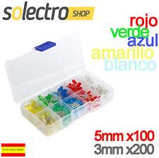 Kit 300 Diodos LED 3mm 5mm ROJO VERDE AMARILLO AZUL BLANCO Arduino P0104