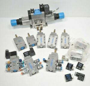 Large Lot of Festo Pneumatic Solenoid Valves & Parts MFH-5-1/8-B MFH-3-1/8 ++