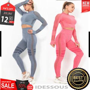 Sport Set Yoga Training Anzug Leggins Fitness nahtlos Leggings GYM Damen S M L