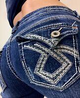 Hydraulic Mid rise Crop Flap Pocket Womens Denim Blue Jeans size  8