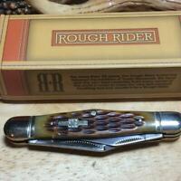 """Rough Rider Amber Jigged Bone Whittler 3 1/2"""" Pocket Knife RR106"""