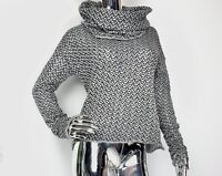 Sarah Pacini Oversized Turtleneck High-Neck Top Sweater