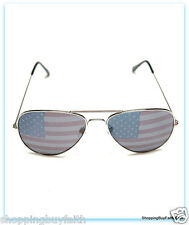 "Aviator Red White Blue Sunglasses 100% UV Rays Polycarbonate 5.75"" Across Case"