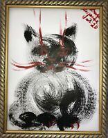 Margarita Bonke Malerei Zeichnung POP art schwarz rot katze cat A3