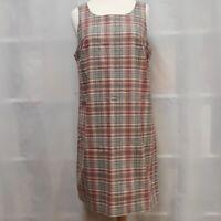 Liz Claiborne Crazy Horse Country Plaid Sleeveless Shift Dress Size M Classic