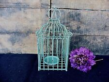Distressed Antique Green Square Iron Bird Cage Lantern Candle Holder ~ Rustic