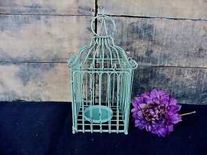 Rustic Aqua Green Square Bird Cage Lantern Candle Holder Wedding Centerpiece