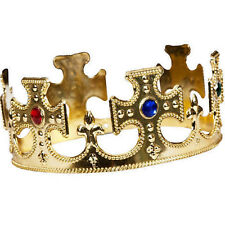 Mens Ladies Adults Royal Gold King & Queen Crown Fancy Dress Costume Accessory