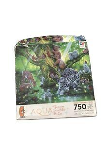 New Ceaco 750 Piece Jigsaw Puzzle Aqua Shimmer Glitter Mother Tree 24 x 18 Damag