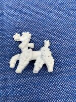 WHITE POODLE Fifi French Standard Teacup Miniature Vintage Brooch Pin ❤️ ts1j