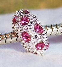 October Birthstone Pink Rhinestone Bead fits Silver European Charm Bracelets