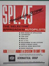 5/1965 PUB SPERRY GYROSCOPE SPL.45 AUTOPILOT SHORT SKYVAN ORIGINAL AD