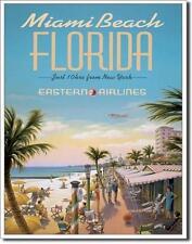 Miami Beach Florida USA Reisen Vintage Eastern Airlines Metall Deko Schild