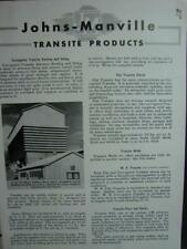 1947 JOHNS-MANVILLE TRANSITE Products Catalog ASBESTOS Roofing Siding Walls Pipe