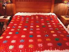 New Handcrafted Crochet Afghan Throw Blanket ~ Burgundy w/ multi-color flowers