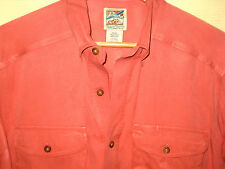TRAVELSMITH SOFT SILK COTTON CORAL PEACH CLUB SHIRT-DESIGNER BUTTONS-LNWOT! -M