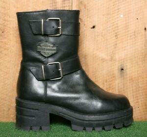 "HARLEY DAVIDSON Black Leather 1.5"" Platform Chunky Heel Combat Boots Sz. 9"