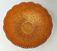 VTG MCM Imperial Carnival Glass Hattie Orange Marigold Sawtooth Bowl Dish TT20