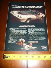 1981 PONTIAC TRANS AM TURBO INDIANAPOLIS INDY 500 PACE CAR - ORIGINAL AD