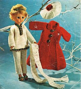 """Dolls clothes knitting pattern for 12"""", 14"""" and 16"""" doll. (V Doll 18)"""