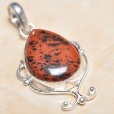 """Handmade Natural Obsidian Mahogany Jasper 925 Sterling Silver Pendant 2"""" #P06371"""