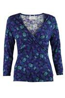 Jersey Blue Purple Teal Floral Wrap Front V Neck Top 3/4 Sleeve 10 12 14 16 18