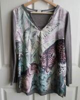 Akemi + Kin Anthropologie Womens Green Fauna Wildcat Henley Top Shirt Size Small