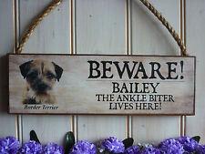 Signo del Perro Personalizado cuidado propio nombre signo de madera jardín portón Cartel Placa